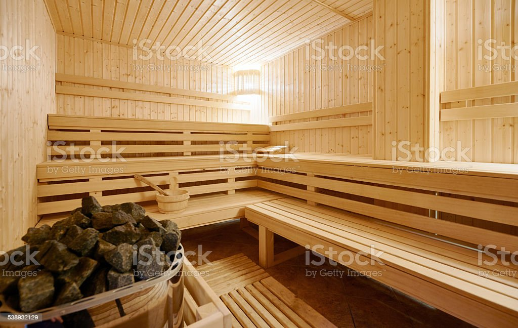 Large Finland-style sauna interior stock photo
