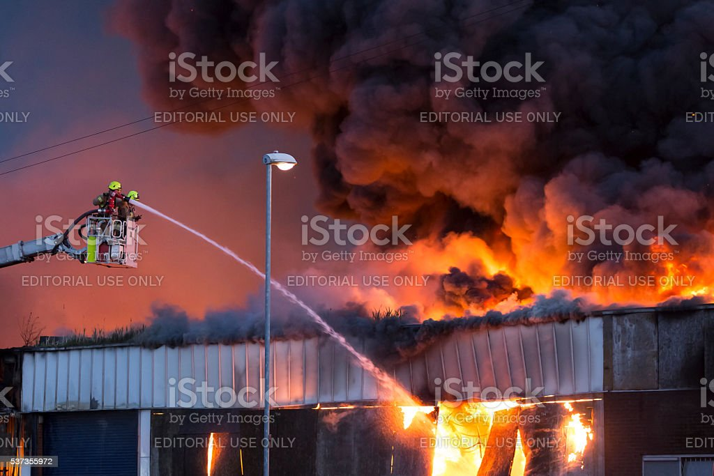Large fire at a warehouse in Bramley, Leeds stock photo