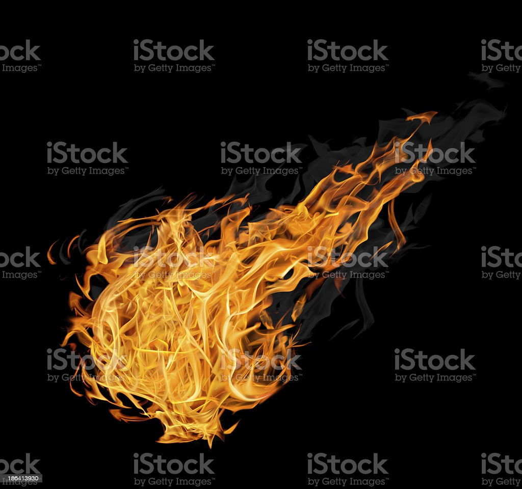 large fireball with smoke on black stock photo