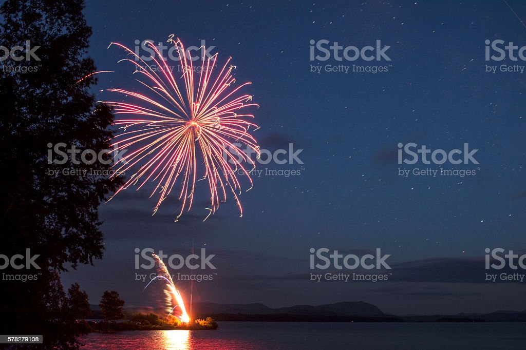 Large Fireworks Display over Moosehead Lake stock photo