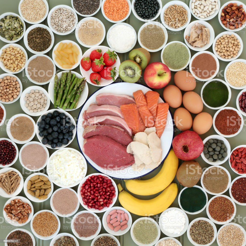 Large Food Selection for Body Builders stock photo