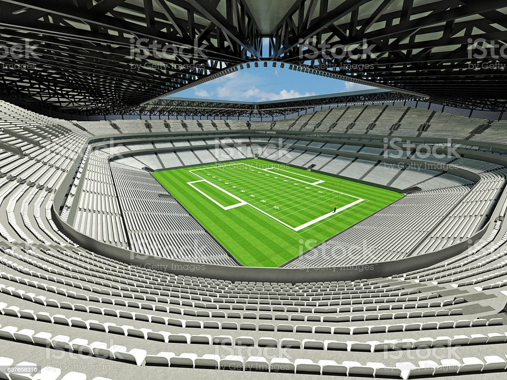 3D render of large football stadium with white seats and VIP boxes...