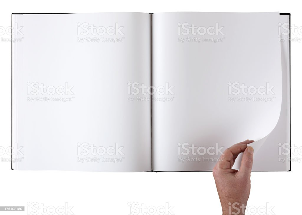 Large format blank coffee table book with clipping path. stock photo