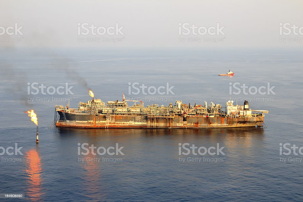 Large FPSO Oil Rig royalty-free stock photo