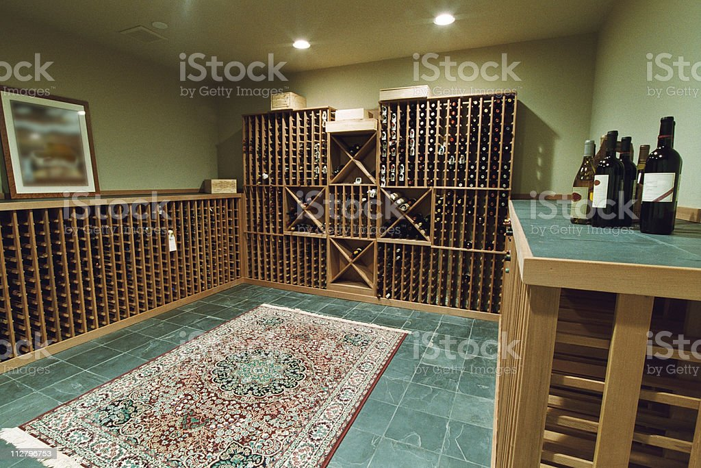Large full view of Wine Cellar with tiled floor royalty-free stock photo