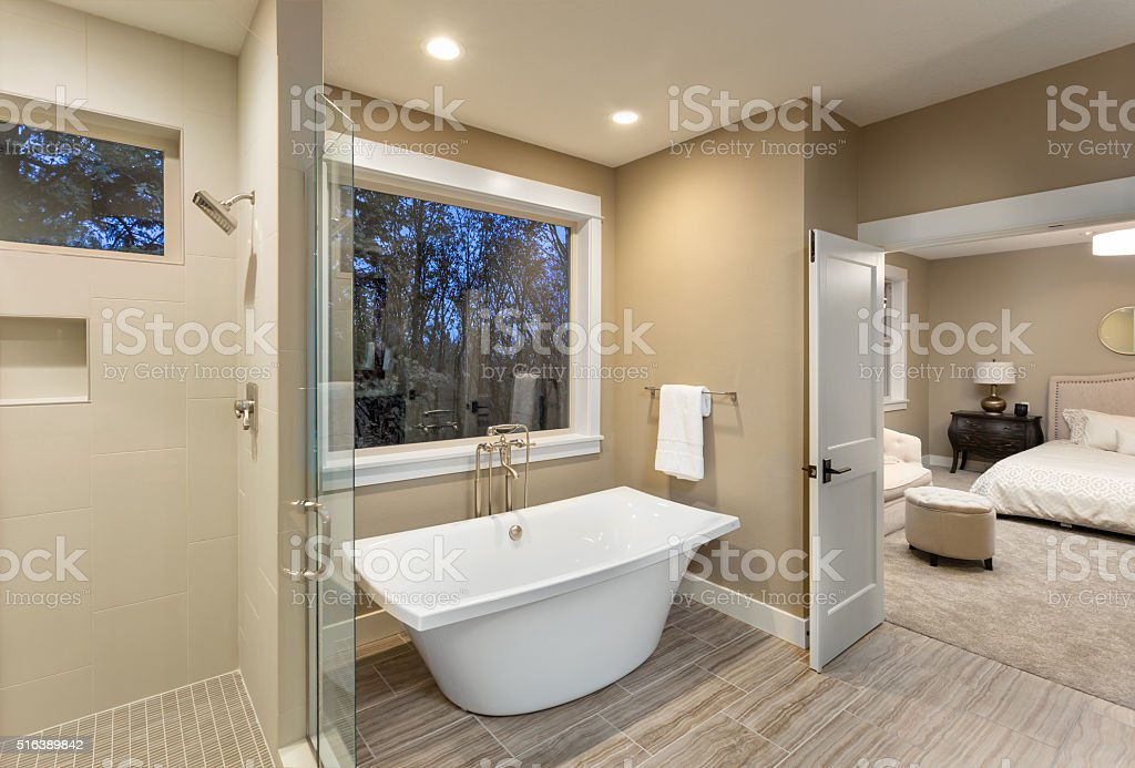 Large furnished bathroom in luxury home stock photo