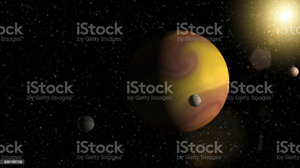 Large gas giant planet with two moons and a smaller planet orbiting nearby star. Outer Space, Cosmic Art and Science Fiction Concept. stock photo