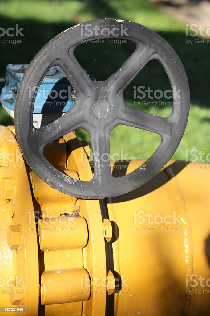 large gas pipeline with well tightened bolts stock photo