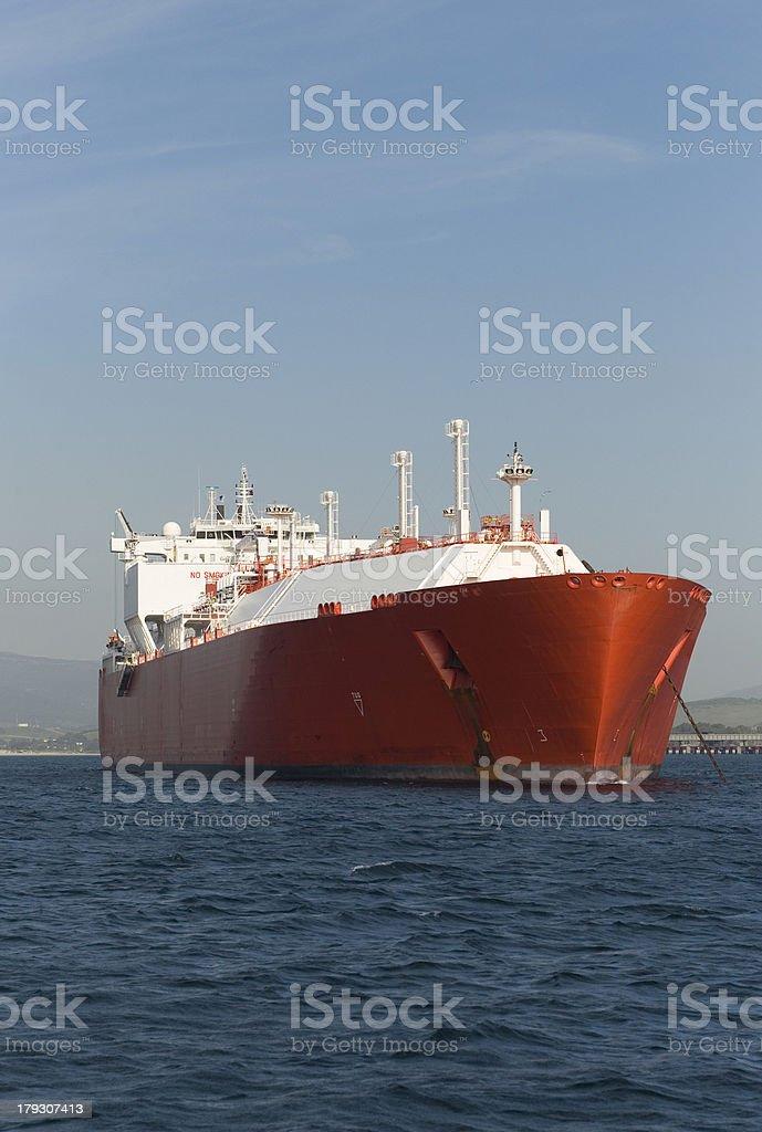 Large Gas Ship At Anchor royalty-free stock photo