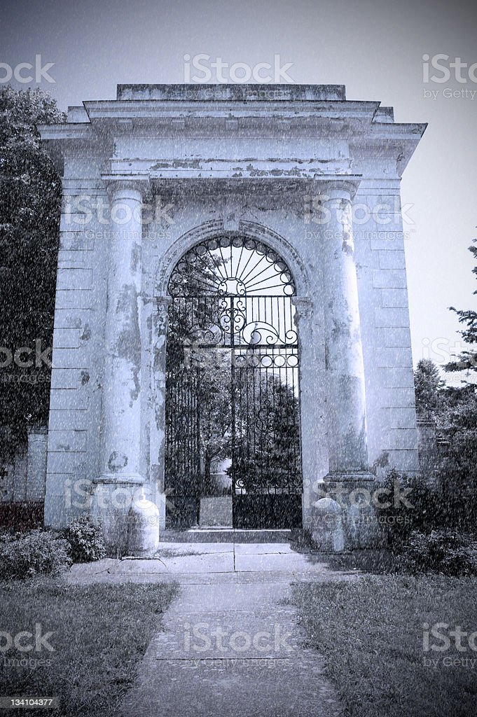 Large gate during snow blizzard stock photo