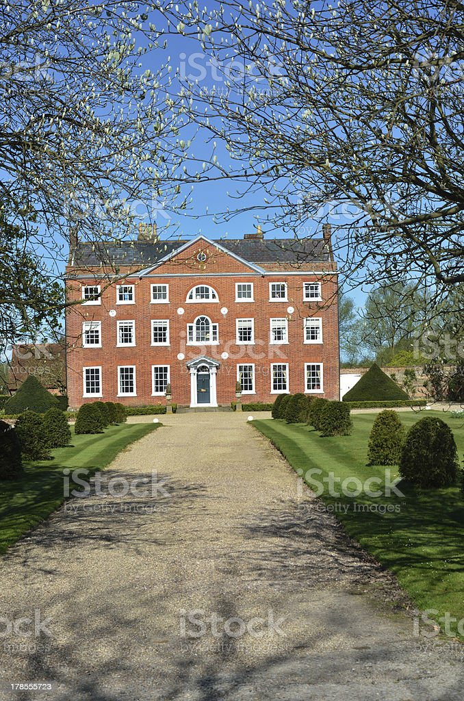 Large Geogian Country Home with drive royalty-free stock photo
