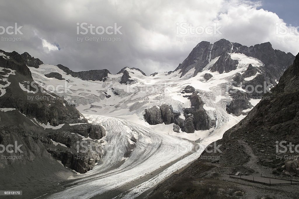 large glacier in the Alps ecrins stock photo