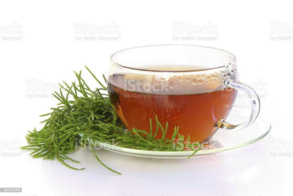 A large glass cup of tea on a saucer with a plant stock photo