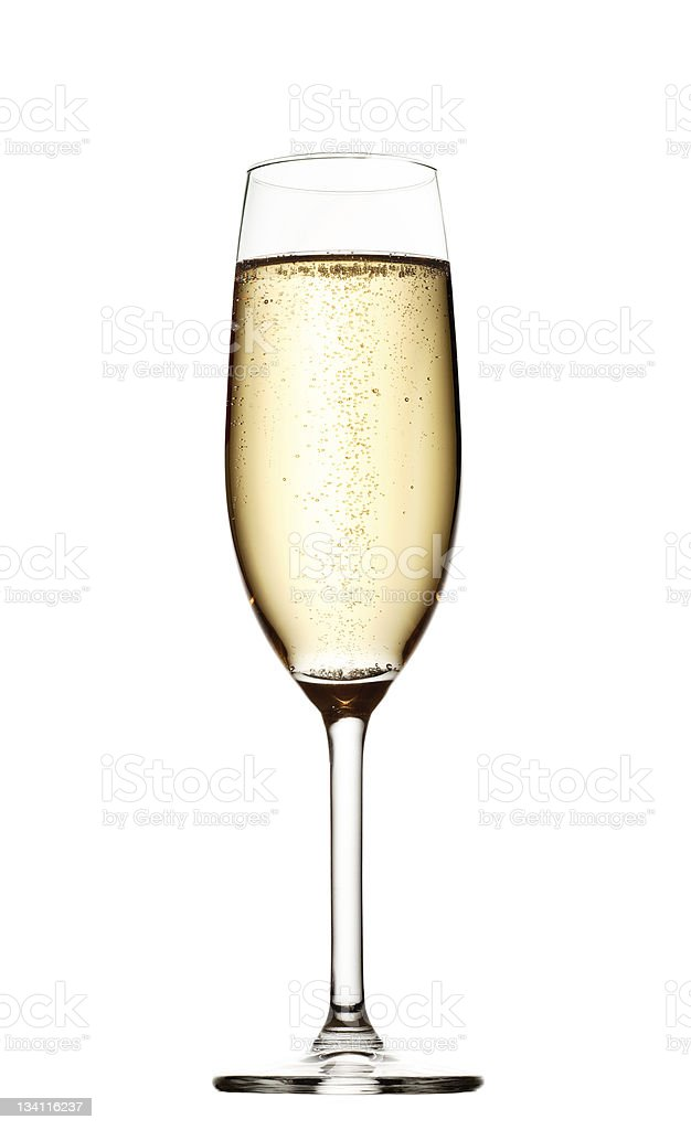 A large glass of champagne on a white background stock photo