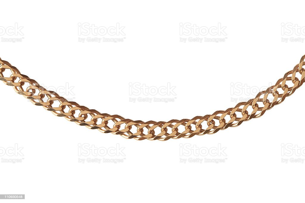 Large gold chain isolated on white background stock photo