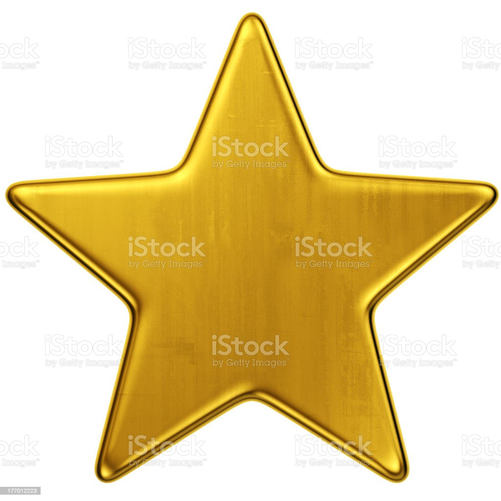 Large gold star against white background stock photo