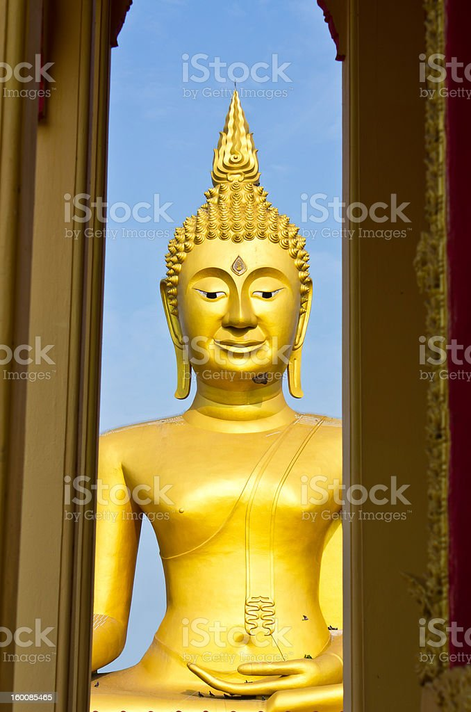 Large golden Buddha. In a temple of Thailand. royalty-free stock photo