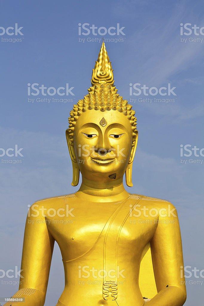 Large golden Buddha. royalty-free stock photo
