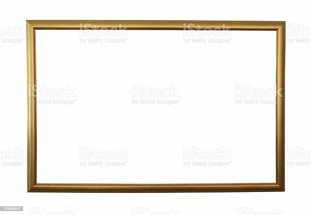 Large golden frame isolated w/ path stock photo
