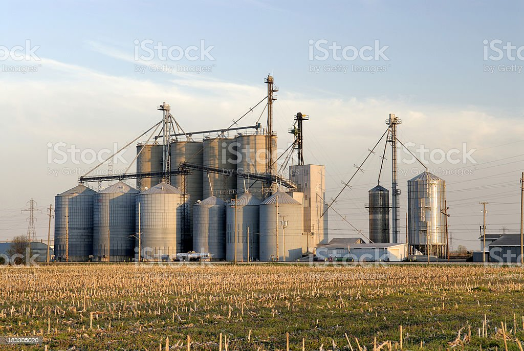 Large grain elevator stock photo