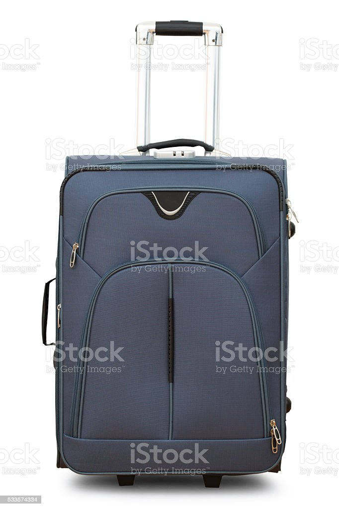 Large gray suitcase on wheels stock photo