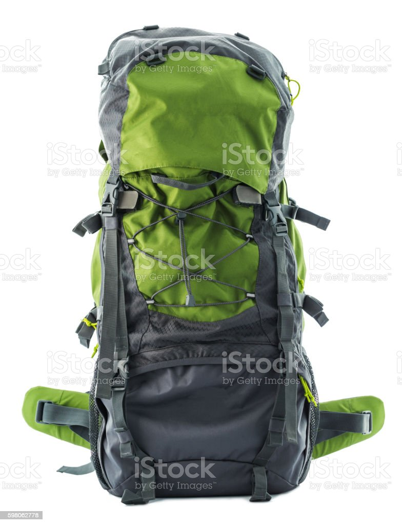 Large green touristic backpack isolated on white stock photo