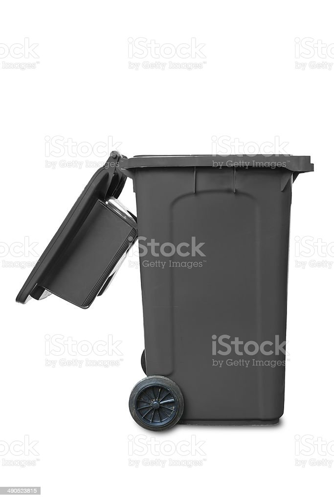 Large grey open lid garbage bin stock photo