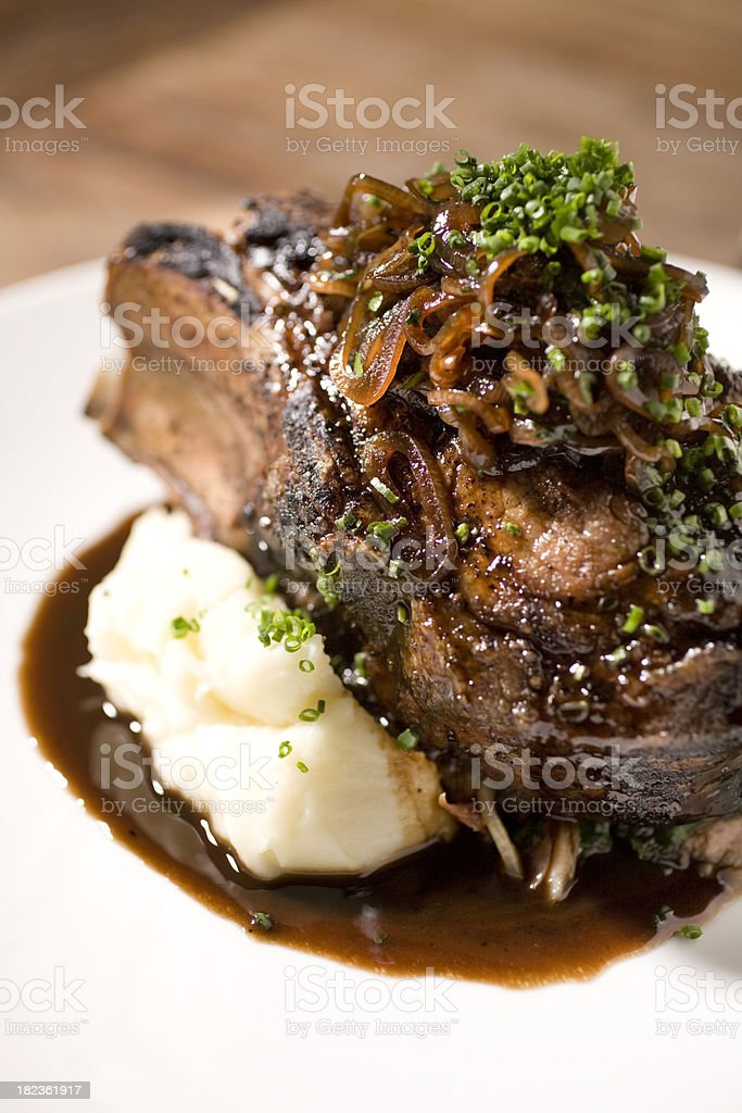 Large grilled pork chop royalty-free stock photo