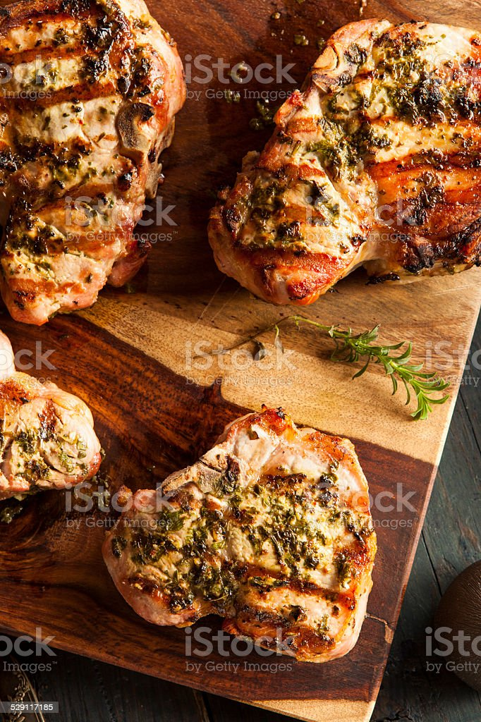Large Grilled Pork Chop stock photo