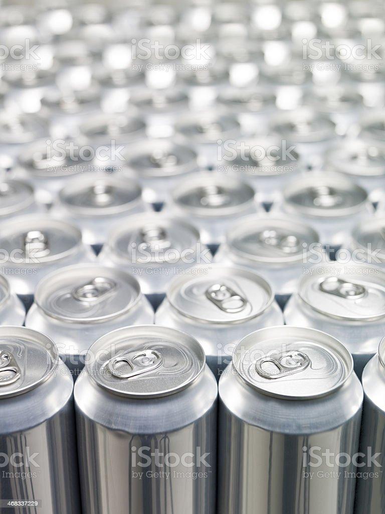 Large group of aluminium cans stock photo
