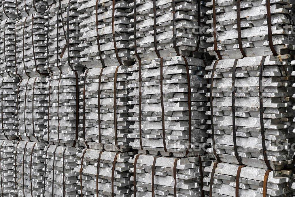 Large group of aluminium ingots stock photo