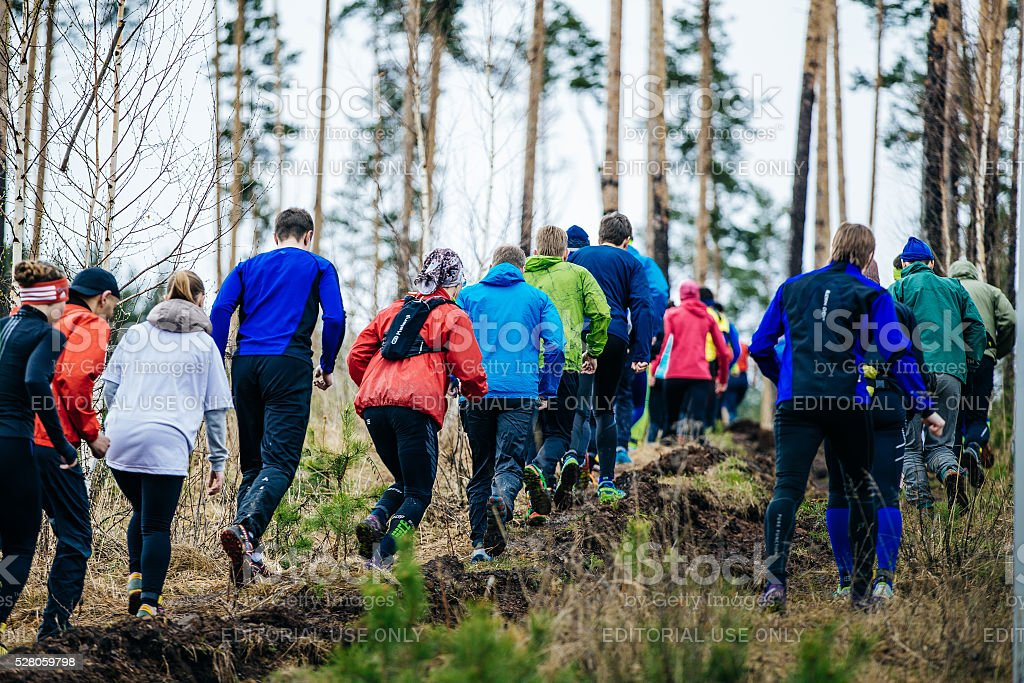 large group of athletes runners running uphill in woods stock photo