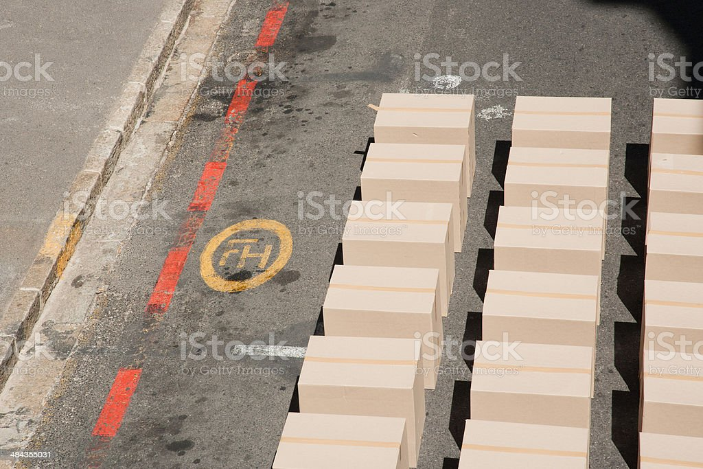 Large group of boxes stock photo