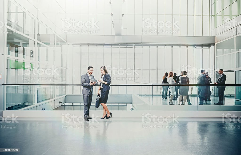 large group of Business people in lobby stock photo