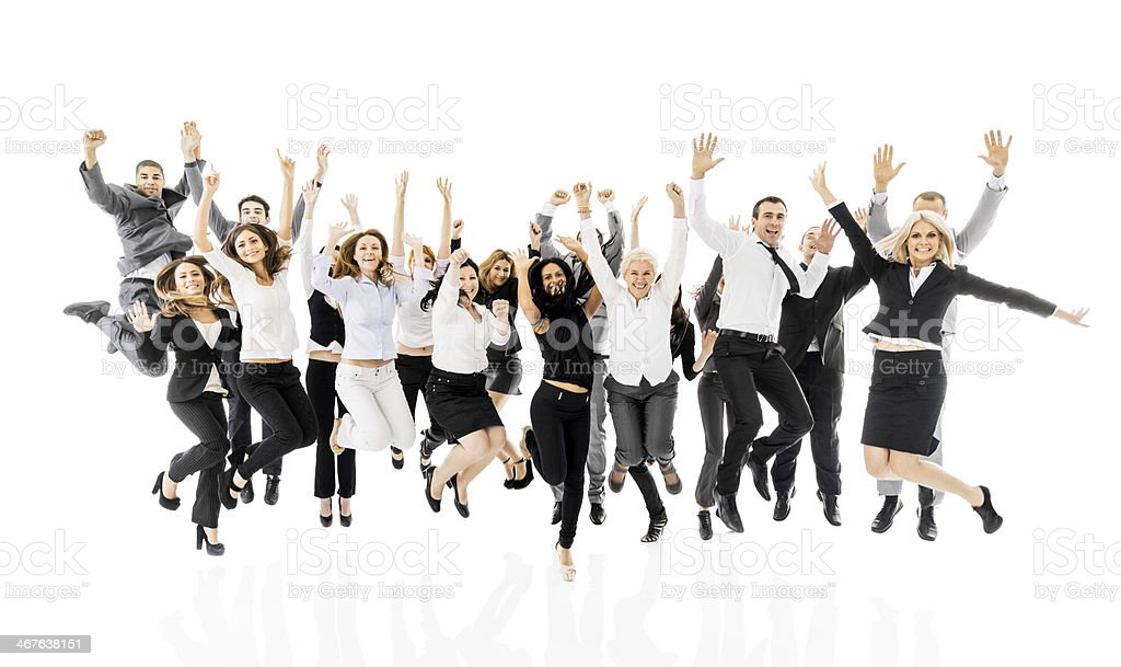 Large group of cheerful business people. stock photo