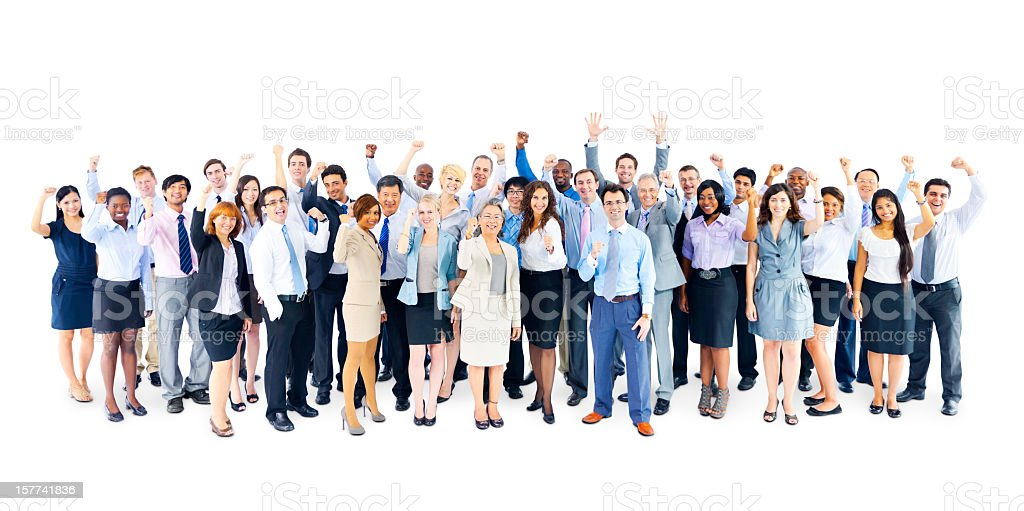 Large group of cheering business people royalty-free stock photo