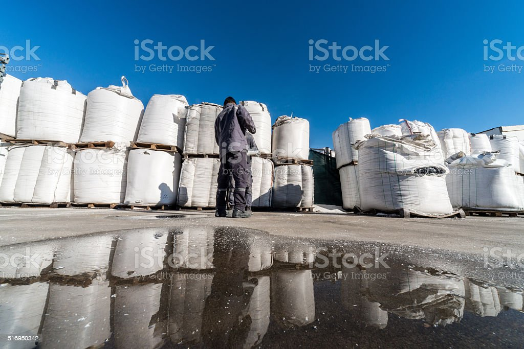 Large group of chemical sacks stock photo