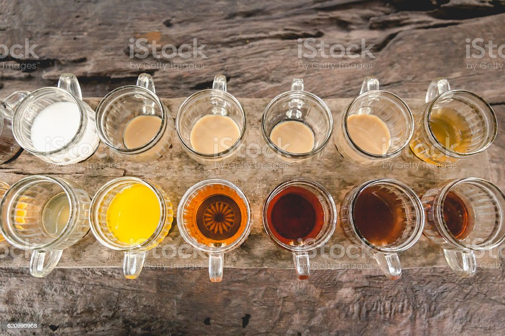 Large group of coffee and tea choice stock photo