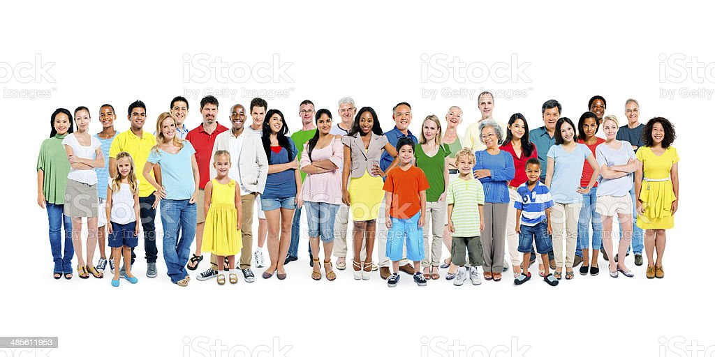 Large Group of Diverse Colorful Happy People stock photo