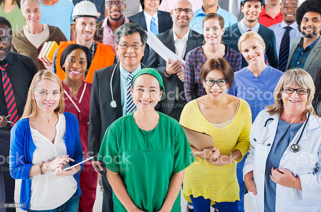 Large Group of Diverse People with Different Occupations stock photo