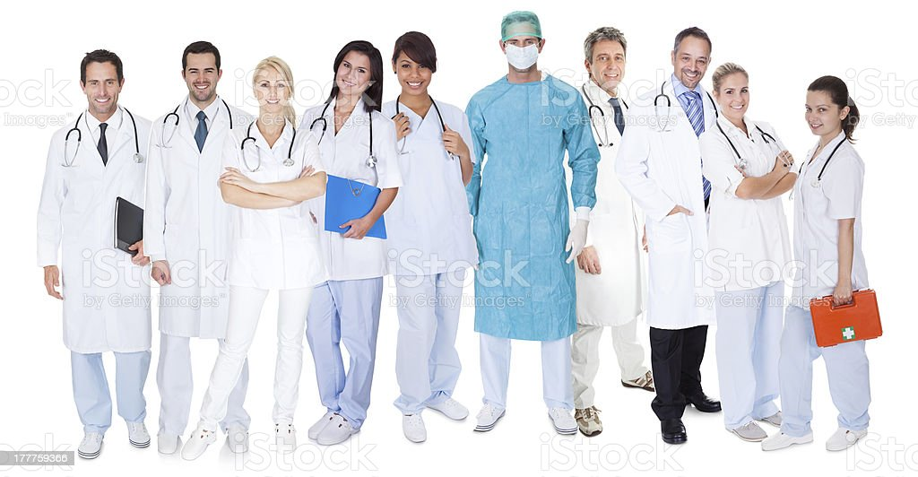 Large group of doctors and nurses royalty-free stock photo
