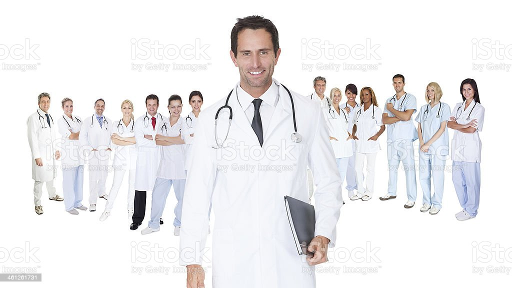 Large group of doctors and nurses stock photo