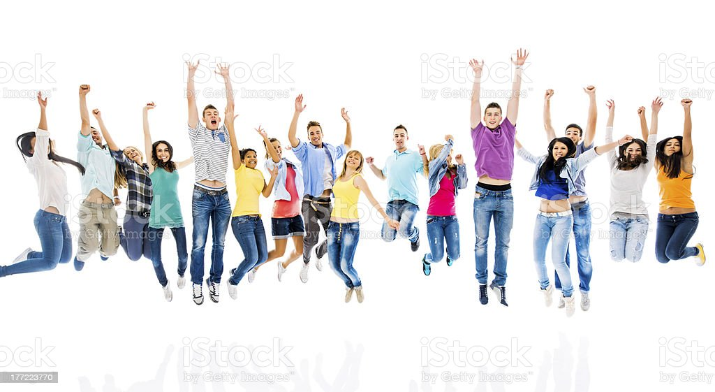 Large group of ecstatic young people. royalty-free stock photo