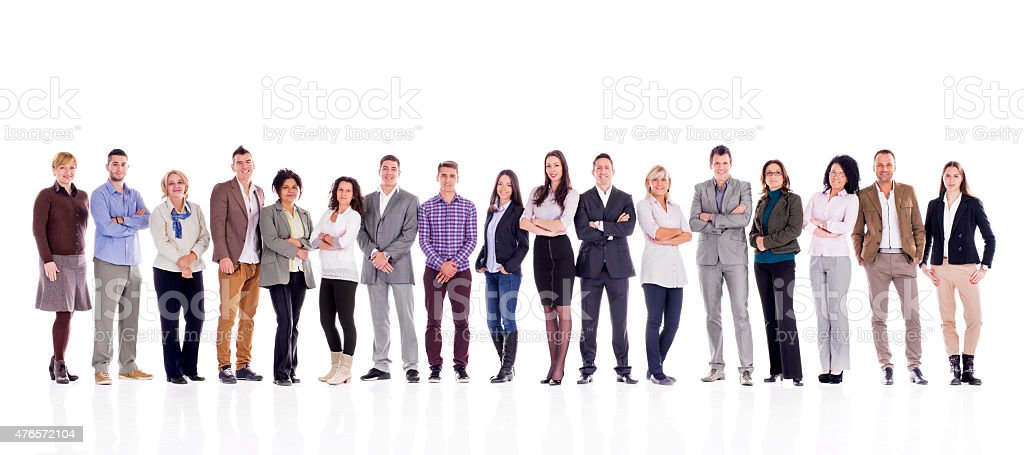 Large group of happy business people in a line. stock photo