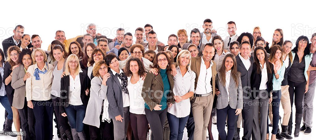 Large group of happy embraced business people isolated on white. stock photo