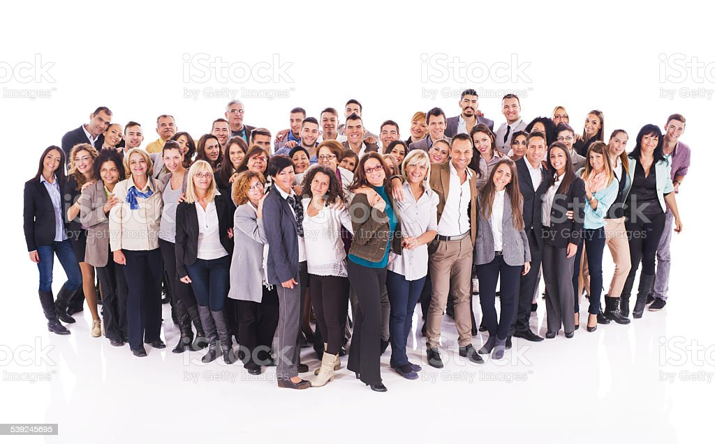 Large group of happy embraced business people. stock photo