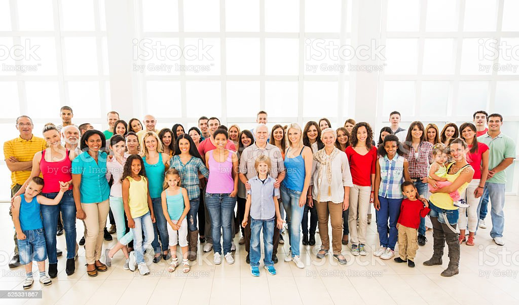 Large group of happy multi-ethnic people. stock photo