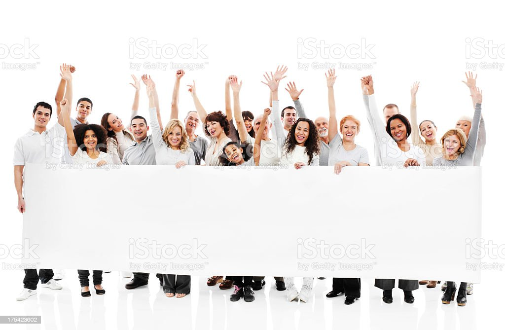 Large group of happy people holding a white board. stock photo