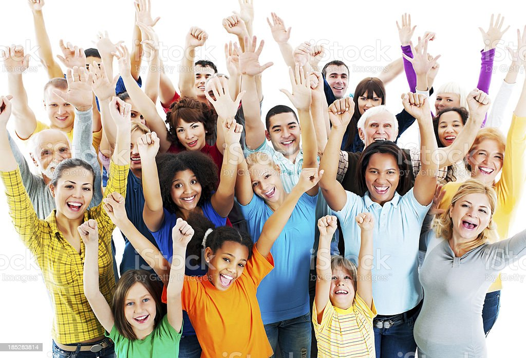 Large Group of Happy People raised hands. royalty-free stock photo