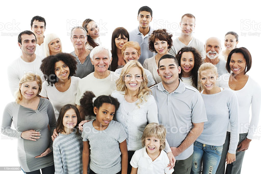 Large Group of Happy People smiling and embracing. stock photo